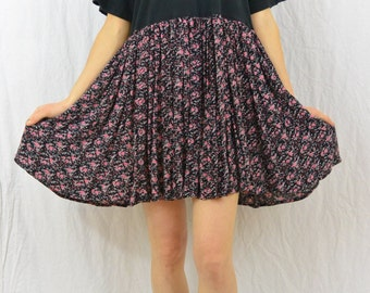 Upcycled Babydoll Dress, Size XS-Small, Tunic Top, Grunge, Floral Dress, Funny, Punk, Tumblr Clothing, OOAK, Teen, Unique, Quirky