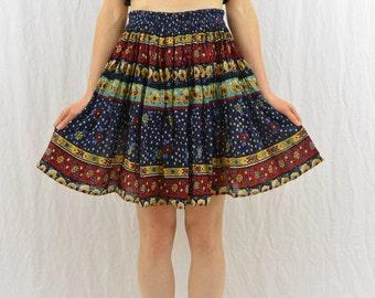 Vintage Floral Broomstick Mini Skirt, Full Skirt, High Waisted, Size XS-Small, Boho, Hippie, Mori Girl, Folk Style