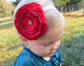 Red Hair Flower Large Flower Headband Toddler Baby Girl Red Headband Baby Flower Headband Red Flower Headband Girls Baby Red Headband