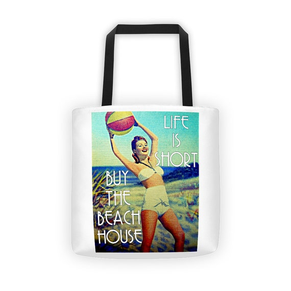 Beach Bag Tote, Life is Short, Buy the Beach House, Beach Bag, Beach House Dreams Tote Bag, Beach Vacation Colorful Tote, 15x15