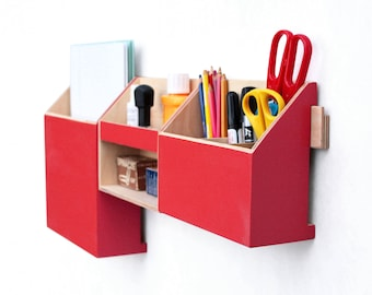 Wood Wall Red Organizer/ Wall Office Mail Organizer / Modern pen holder/ Office Mail Storage set/ wooden home organizer/ Desk organizer