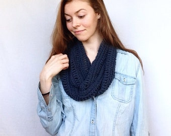 Knit Infinity Scarf Cotton Knit Cowl Scarf Infinity Knitted Chunky Knit Dark Blue Infinity Scarf Cotton Chunky Scarf Infinity Cotton Scarf