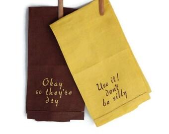 Social Conversation Towel Set Vintage Linen Conversation Towels Loraine Kirk Originals Yellow Brown Social Bar Hand Towels