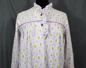 Vintage Cotton Flannel Nightgown - Lavender Purple print, ruffles neckline & bottom - Lg - original packaging - 1960s