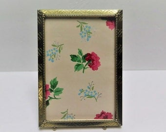 5 x 7 Etched Brass Picture Frame with ball feet