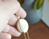 Gold Filled Oval Locket Necklace - Large Gold Locket