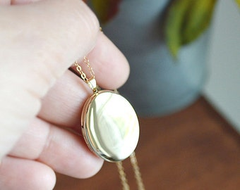 Gold Filled Oval Locket Necklace - Large Gold Locket