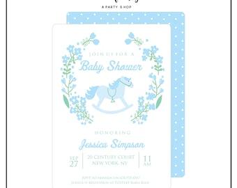Rocking Horse Invitation -  Baby Shower Invitation - Printable - Boy Baby Shower Invite // RHB - 01