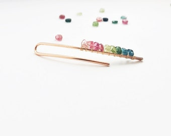 14 Karat Rose Gold Tourmaline Long Earring Pin Ear Climber Multi Color Ombre Rainbow Pink Blue Green Filled Pierced 14 K (Single or Pair)