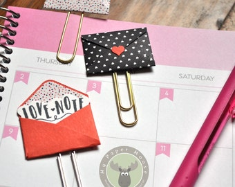 Tiny Love Notes Envelopes Paper Clips Planner Clips Bookmarks Set of 3