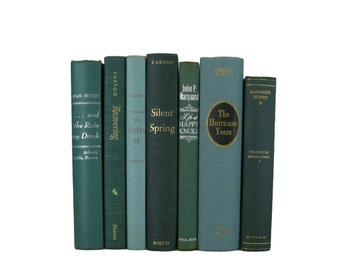 Green Home Decor, Vintage  Books, Wedding Decor,  Used  Books, decorative books, old books, library decor, stack of books, Bookshelf Decor