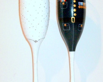 Military Uniform and Wedding Dress Set of 2 - 6 oz. Champagne Flutes Bride & Groom Marine Army, Navy, Air force Uniform Hand Painted Flutes