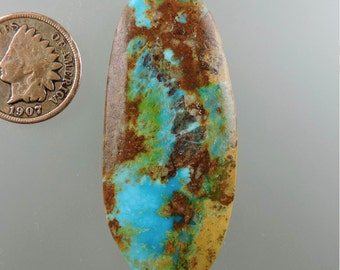 Royston Ribbon Turquoise Cabochon, Turquoise Cabochon, Turquoise Ribbon Cabochon, Royston Pendant Cab, Royston Gift Cab, C2246, 49erMinerals