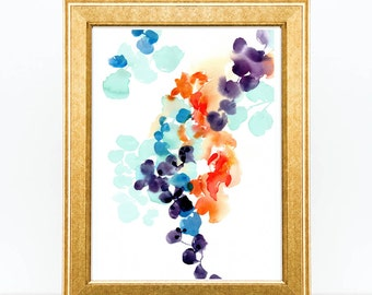 Botanical Print Watercolor Art. Autumn Leaves. Original Art.  Wall Art Print. Gift for her under 50.