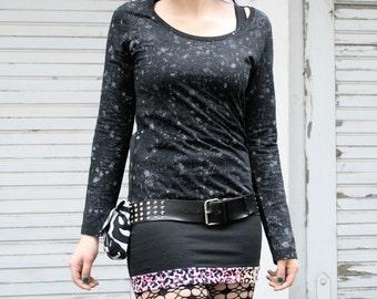 Acid Rain - organic long sleeve shirt - black eco-friendly limited edition grey splatters
