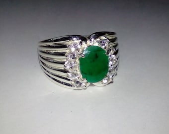 Natural Emerald, White Topazes In Sterling Silver Ribbed Cocktail Ring. Size 7