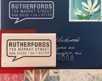 Personalized Address Stamp - Custom Address Stamp - Speech Bubble Stamp - Modern Address Stamp - DIY Stamping - Self Inker - Wood Mounted