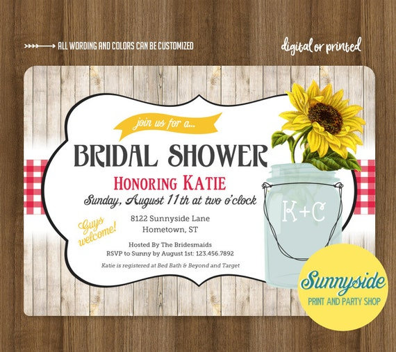 Sunflower bridal shower invitation printable or printed invitation il570xn filmwisefo