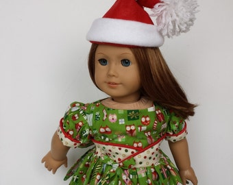 18 Inch Doll Clothes, Christmas Fifties Flair Dress with Santa Hat, Made to Fit 18 Inch Dolls