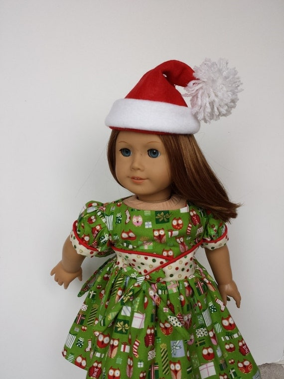18 inch doll clothes christmas fifties flair dress with santa hat