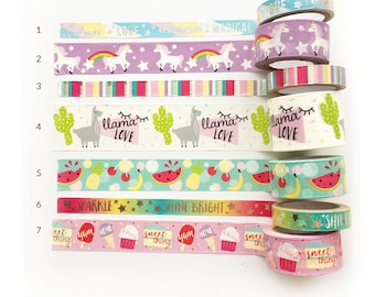 "Washi Tape SAMPLES - 18"" - Choose a Pattern or Choose a Bundle"