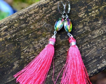 Pink Tassel Earrings boho jewelry hot pink silk tassel with pink and green rhinestone long colorful handmade jewelry eye catching gift