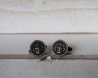 Crown Cufflinks or Tie Tack Crown Vintage Inspired Coins Cufflinks Victorian Style Men's Cufflinks