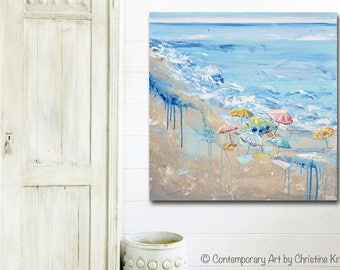 ORIGINAL Large Art Coastal Abstract Painting Beach Wall Art Acrylic Painting Summer Wall Decor Colorful Beach Umbrellas Seascape - Christine