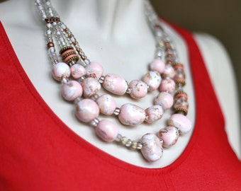 Blush Stone Statement Necklace / Baby Pink Necklace / Light Pink Beaded Jewelry / Pink Chunky Stone Necklace