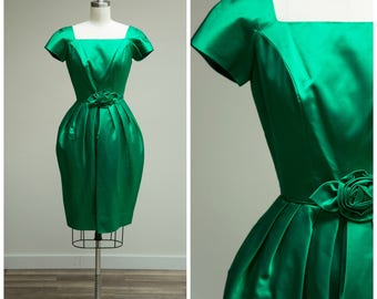 Vintage 1950s Dress • Something New • Green Satin 50s Cocktail Dress with Tulip Skirt Size XSmall