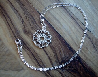Sterling silver necklace - Flower necklace - Pretty jewellery - Flower pendant - Wire wrapped necklace - Lace jewellery - Gift for her
