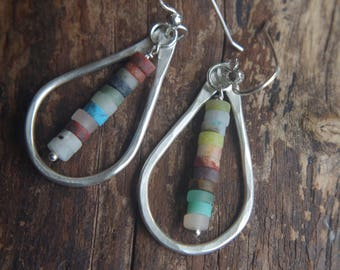 Fine Silver teardrop earrings - Rainbow Dew Drops - Hand forged boho Silver dangles with colorful natural gemstone mix