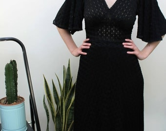 1970s Black Lacy Semi Sheer Maxi Dress Size UK 8, US 4, EU 36