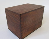 Dovetailed Recipe Box, Vintage Owl Brand 3 x 5 Wood Wooden Storage Display Retro Kitchen Cottage Cabin Farmhouse Decor, Hinged Lid