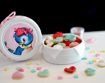 Sweet Petite Play Scale Kitschy Blue Bird Valentine Cookie Tin in White