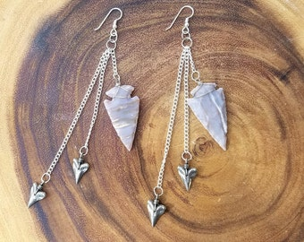 Jasper Arrowhead Earrings with Shark Teeth Charms