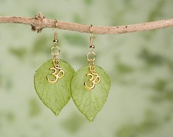 Golden Om Symbol Leaf Earrings.