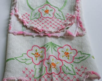Vintage, Chair Head & Arm Rest Covers, Hand Embroidered, Pink and Greens