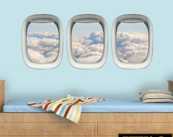 Airplane Wall Decals Sky Wall Art Kids Room Clouds Airplane Window Aviation Decor VWAQ-PPW13