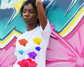 white womens printed top, summer floral t-shirt, festival t-shirt, rose print top, printed t-shirt