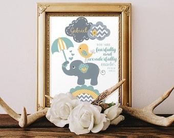GODPARENT GIFTS, DEDICATION gift, baby boy Baptism gifts, Elephant nursery, Christian art, Scripture print, Bible verse, elephant bedding