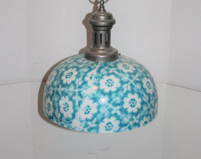Vintage Hanging Light Fixture Blue and White Milk Glass Shade Chandelier