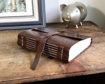 Handmade Leather Journal, Dark Brown Hand-Bound 4.75 x 6 Journal by The Orange Windmill on Etsy 1770
