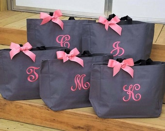 Set of 10 Bridesmaid Bags Personalized Gifts Wedding Tote Bags Embroidered Bags