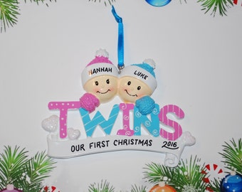 Personalized Twins Boy/Girl Christmas Ornament