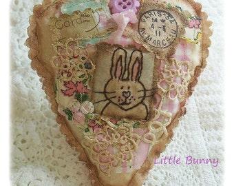 Little Bunny- Scented Sachet, patchwork, primitive hand drawn original, applique, hand embroidered in Australia
