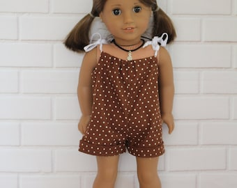 Brown Romper Doll Clothes to fit 18 inch dolls to 20 inch dolls such as American Girl & Australian Girl dolls