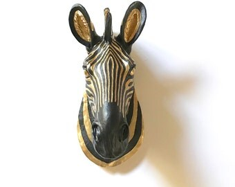 CUSTOM Choose Your Colors LARGE Faux Zebra Head wall mount Faux Taxidermy animal head wall hanging fake zebra black and gold