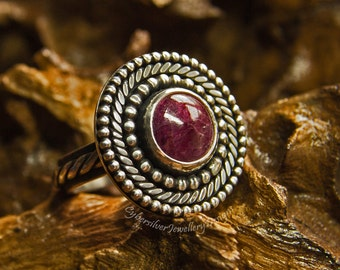 Large ruby ring, natural ruby and silver ring, boho silver ring, cocktail ring, unique, handmade, corundum, UK hallmark, size P 1/2, size 8