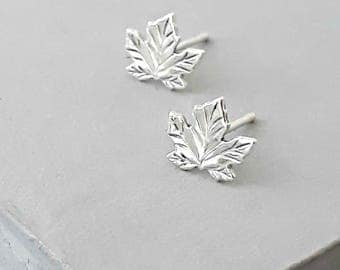 Silver leaf stud earrings - Silver Stud Earrings - Leaf Studs - Silver Studs -  Silver Leaf Earrings - Silver Leaf Studs -  Nature Jewelry